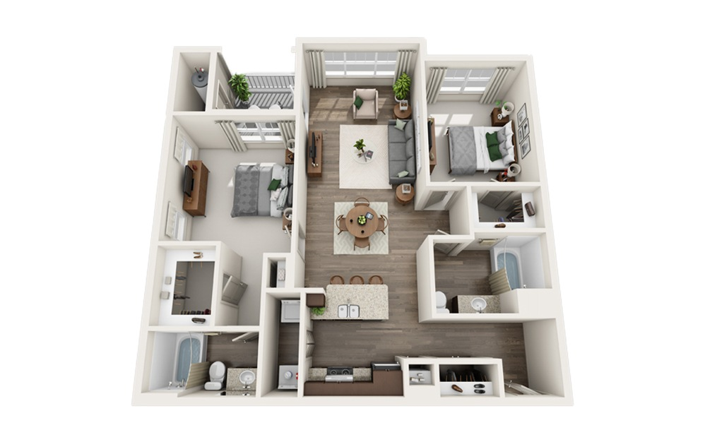 A1 - 2 bedroom floorplan layout with 2 baths and 1210 square feet.