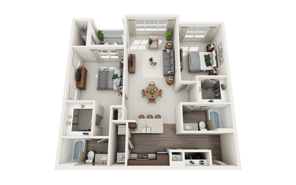 A - 2 bedroom floorplan layout with 2 baths and 1210 square feet.