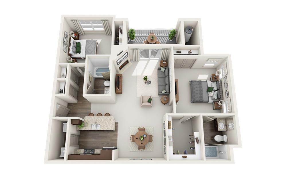 C - 2 bedroom floorplan layout with 2 baths and 1171 square feet.