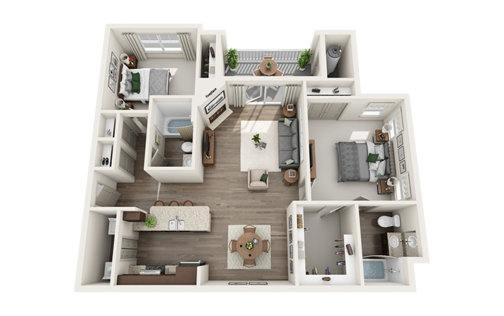 C1 - 2 bedroom floorplan layout with 2 baths and 1171 square feet.