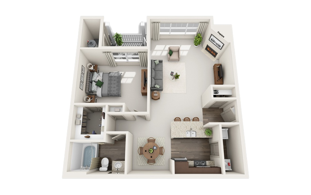 D - 1 bedroom floorplan layout with 1 bath and 885 square feet.