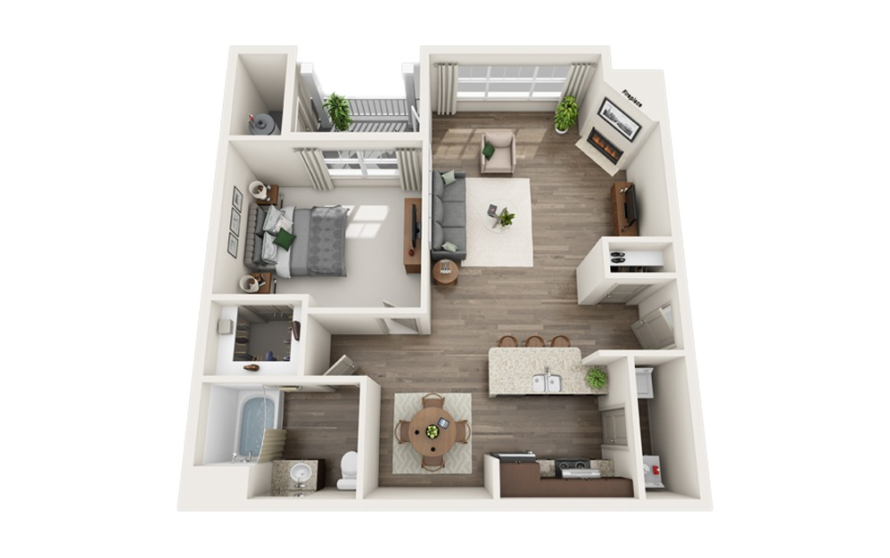 D1 - 1 bedroom floorplan layout with 1 bath and 885 square feet.