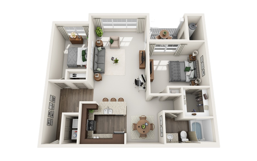 E - 2 bedroom floorplan layout with 1 bath and 1044 square feet.