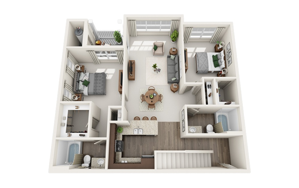 G – Two Story Loft - 2 bedroom floorplan layout with 2 baths and 1386 square feet. (Floor 1)