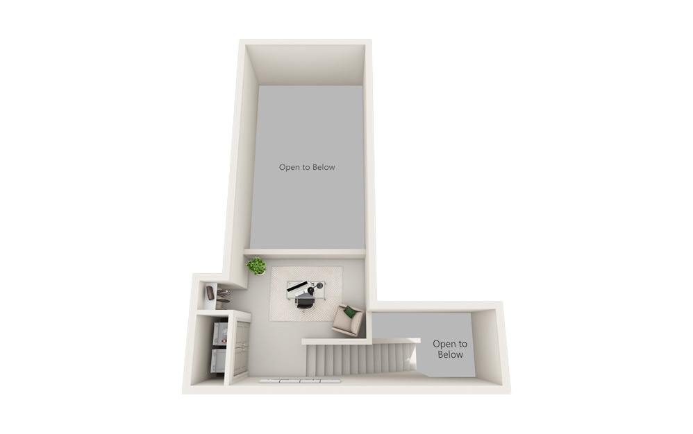 G – Two Story Loft - 2 bedroom floorplan layout with 2 baths and 1386 square feet. (Floor 2)