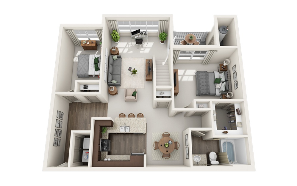 H - Two Story Loft - 2 bedroom floorplan layout with 1 bath and 1219 square feet. (Floor 1)