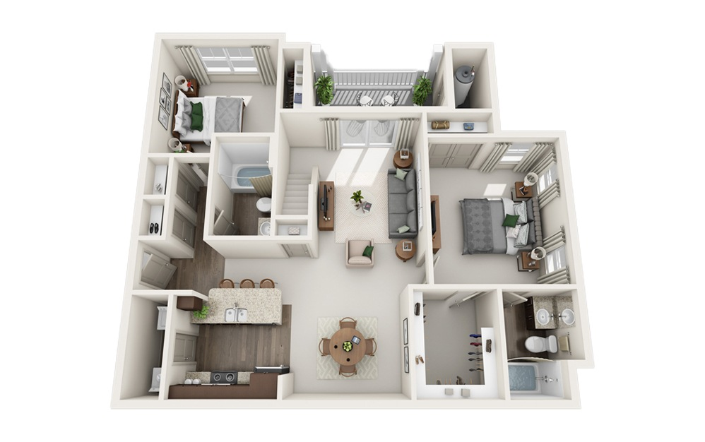 I - Two Story Loft - 2 bedroom floorplan layout with 2 baths and 1310 square feet. (Floor 1)