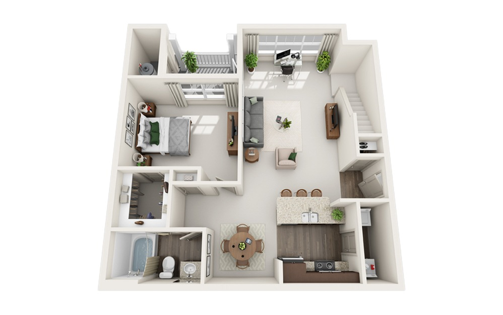 J - Two Story Loft - 1 bedroom floorplan layout with 1 bath and 1084 square feet. (Floor 1)